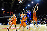 Conor Morgan (Sharks) steals a rebound from Majok Majok (Saints) during the national basketball league final  between Wellington Saints and Southland Sharks at TSB Bank Arena in Wellington, New Zealand on Sunday, 5 August 2018. Photo: Dave Lintott / lintottphoto.co.nz
