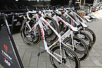 Trek-Segafredo team bikes outside press conference in Dusseldorf before the 104th edition of the Tour de France 2017, Dusseldorf, Germany. 30th June 2017.<br /> Picture: Eoin Clarke | Cyclefile<br /> <br /> <br /> All photos usage must carry mandatory copyright credit (&copy; Cyclefile | Eoin Clarke)