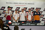 austin. tejas. USA. motociclismo<br /> GP in the circuit of the americas during the championship 2014<br /> 12-04-14<br /> En la imagen :<br /> Press conference<br /> tito rabat<br /> dani pedrosa<br /> marc marquez<br /> estefan bradl<br /> jack miller<br /> photocall3000 / rme