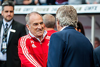 Francesco Guidolin, Manager of Swansea City shakes hands with Manuel Pellegrini, Manager of Manchester City prior to the Barclays Premier League match between Swansea City and Manchester City played at the Liberty Stadium, Swansea on the 15th of May  2016