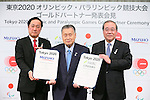 (L to R)  Yasuhiro Sato, Yoshiro Mori,  Koichi Miyata, APRIL 14, 2015 : Mizuho and Sumitomo Mitsui Financial Group has Press conference in Tokyo to announce that it has entered into a partnership agreement with the Tokyo Organising Committee of the Olympic and Paralympic Games. With this agreement, Mizuho and Sumitomo Mitsui Financial Group becomes a Gold Partner for Tokyo 2020. (Photo by YUTAKA/AFLO SPORT)