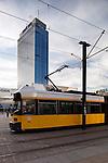 Urban scene in Berlin, Germany with tram