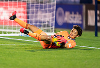 FRISCO, TX - MARCH 11: Ayaka Yamashita #18 of Japan makes a save during a game between Japan and USWNT at Toyota Stadium on March 11, 2020 in Frisco, Texas.