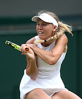 Caroline Wozniacki (DEN) during her match against Ekaterina Makarova (RUS)<br /> <br /> Photographer Rob Newell/CameraSport<br /> <br /> Wimbledon Lawn Tennis Championships - Day 3 - Wednesday 4th July 2018 -  All England Lawn Tennis and Croquet Club - Wimbledon - London - England<br /> <br /> World Copyright &not;&uml;&not;&copy; 2017 CameraSport. All rights reserved. 43 Linden Ave. Countesthorpe. Leicester. England. LE8 5PG - Tel: +44 (0) 116 277 4147 - admin@camerasport.com - www.camerasport.com