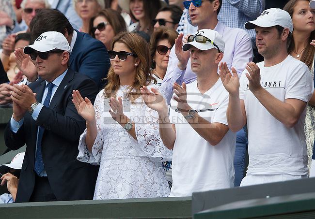 Mirka Federer with Roger Federer's team on Centre Court during the Mens Final, Wimbledon Championships 2017, Day 13, Mens Final, All England Lawn Tennis & Croquet Club, Church Rd, London, United Kingdom - 16th July 2017