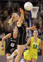 21.07.2007 Silver Ferns Laura Langman in action during the Silver Ferns v Australia Netball Test Match at Vodafone Arena, Melbourne Australia. The Silver Ferns won 67-65 after double extra time. Mandatory Photo Credit ©Michael Bradley. **$150 + GST USAGE FEE DOES APPLY**