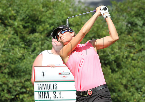 30.08.2015. Prattville, AL, USA.  Kris Tamulis of Naples, Florida tees off from the sixteenth hole during the final round of the Yokohama Tire LPGA Classic at the RTJ Capitol Hill Golf Course in Prattville, AL.