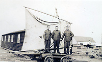 BNPS.co.uk (01202 558833)<br /> Pic: PhilMathison/BNPS<br /> <br /> The army used the landship to supply the garrison at remote Spurn Point - which protected the east coast from the German threat in the North Sea.<br /> <br /> To Hull and back...eccentric Inventor Phil Mathison has recreated the almost forgotten 'Spurn Landship'.<br /> <br /> Railway enthusiast Phil Mathison, 68, has researched and rebuilt the sail powered Spurn Landship, which once ferried people out along the windswept Spurn Peninsula east of Hull between the wars.<br /> <br /> The original 13 ft landship, made up of a large sail mounted on a wheeled trolley (bogie), could travel at a hair-raising 40mph. <br /> <br /> Mr Mathison, a retired economist, has been assisted on the four year project by his wife Mary, 68, and their Norwegian friend Torkel Larsen, 51. The trio have dubbed themselves the 'Spurnfleet Command' and wear astronaut-like uniforms.<br /> <br /> Despite exhaustive trials Phil and his team have only attained a top speed of 6mph so far, mainly due to fluctuating wind conditions on the test track in Derbyshire.