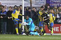 Valery Pajetat of Haringey makes a save during Haringey Borough vs AFC Wimbledon, Emirates FA Cup Football at Coles Park Stadium on 9th November 2018