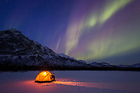 Man peers out of the door of a tent to watch the aurora overhead in Alaska's Brooks Range.