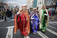 (L-R) Gaspar, Mechior and Balthazar march in the annual Three Kings Day Parade in the Bushwick neighborhood of Brooklyn on Sunday, January 8, 2012. Neighborhood school children marched with residents, camels and kings in their celebration of the Epiphany. Many in the Latino community celebrate the traditional December 25 Christmas and the Epiphany. (© Richard B. Levine)