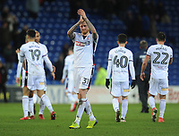 Bolton Wanderers' David Wheater looks dejected as he applauds his sides fans at the final whistle<br /> <br /> Photographer Kevin Barnes/CameraSport<br /> <br /> The EFL Sky Bet Championship - Cardiff City v Bolton Wanderers - Tuesday 13th February 2018 - Cardiff City Stadium - Cardiff<br /> <br /> World Copyright &copy; 2018 CameraSport. All rights reserved. 43 Linden Ave. Countesthorpe. Leicester. England. LE8 5PG - Tel: +44 (0) 116 277 4147 - admin@camerasport.com - www.camerasport.com
