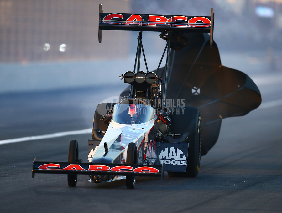 Feb 12, 2016; Pomona, CA, USA; NHRA top fuel driver Steve Torrence during qualifying for the Winternationals at Auto Club Raceway at Pomona. Mandatory Credit: Mark J. Rebilas-USA TODAY Sports