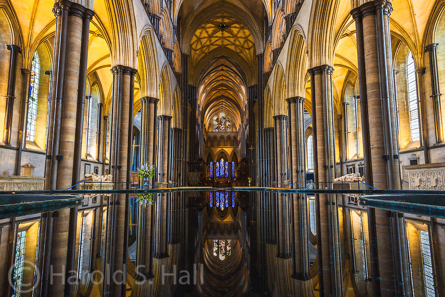 This is the reflection of the church windows in the baptismal font in the Salisbury Cathedral in England. The church was completed in 1258 and has the tallest spire in the United Kingdom. The best of the four original copies of the Magna Carta is also here.