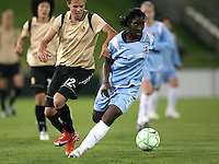 Sky Blue defender Anita Asante (5)  turns away from FC Gold Pride striker Christine Sinclair (12).  Sky Blue FC and FC Gold Pride battled to a 1-1 draw in Bridgewater, NJ on Saturday, April 11, 2009.