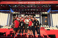 At the presentation after the Singles matches at the Ryder Cup, Hazeltine National Golf Club, Chaska, Minnesota, USA.  03/10/2016<br /> Picture: Golffile | Fran Caffrey<br /> <br /> <br /> All photo usage must carry mandatory copyright credit (&copy; Golffile | Fran Caffrey)