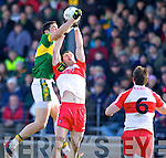 Anthony Maher Kerry in action against Patsy Bradley Derry in round Two of the National Football league at Fitzgerald Stadium, Killarney on Sunday the 9th of February.
