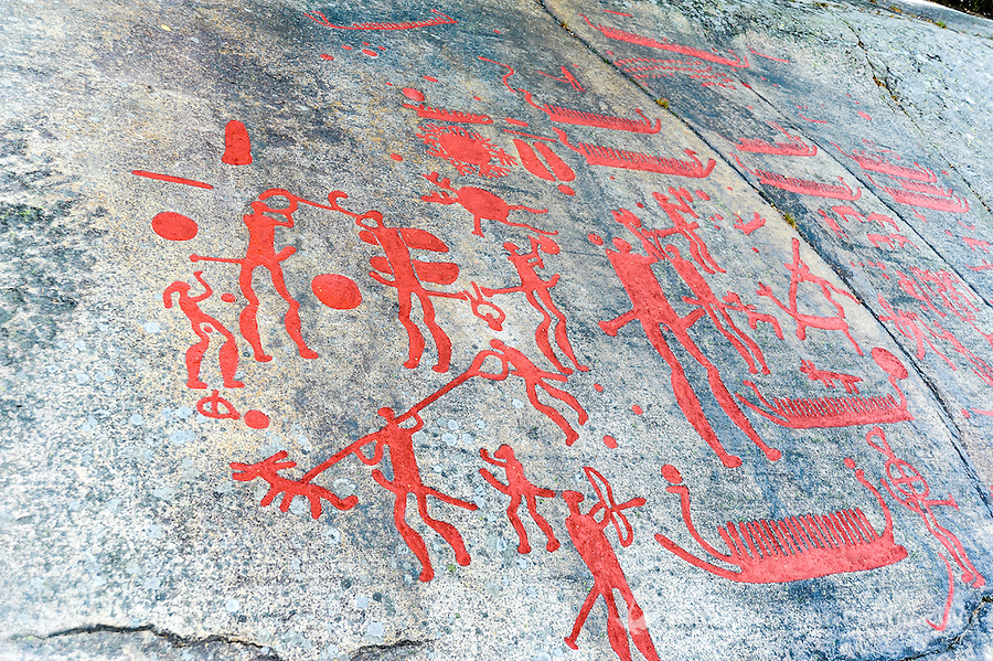 Sweden. Rock Carvings in Tanum, a World Heritage Site with high concentration of petroglyphs.