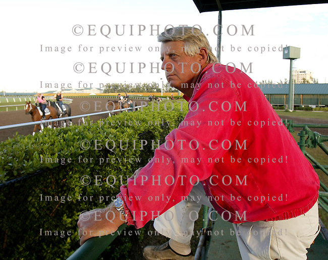 Trainer John Ward on the rail at Gulfstream Park in Hallandale Beach, Florida.  Photo By Bill Denver/EQUI-PHOTO.