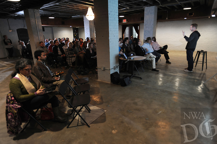 NWA Democrat-Gazette/ANDY SHUPE<br /> John James, founder and CEO of Hayseed Ventures, speaks Wednesday, Feb. 17, 2016, during a workshop for entrepreneurs at the Old Post Office building on the Fayetteville square.