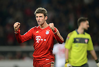 FUSSBALL   1. BUNDESLIGA  SAISON 2012/2013   19. Spieltag   VfB Stuttgart  - FC Bayern Muenchen      27.01.2013 JUBEL FC Bayern; Torschuetze zum 0-2 Thomas Mueller
