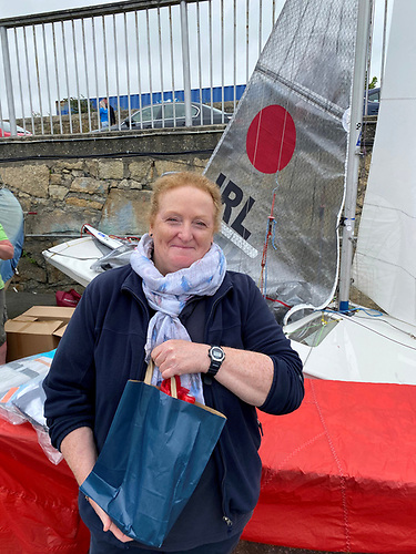 Irish Fireball Championships 2020 Race Officer Suzanne McGarry with her present from the Irish Fireball Class Association