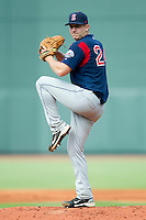 Starting pitcher Brock Huntzinger #24 of the Salem Red Sox in action against the Winston-Salem Dash at  BB&T Ballpark June 27, 2010, in Winston-Salem, North Carolina.  Photo by Brian Westerholt / Four Seam Images