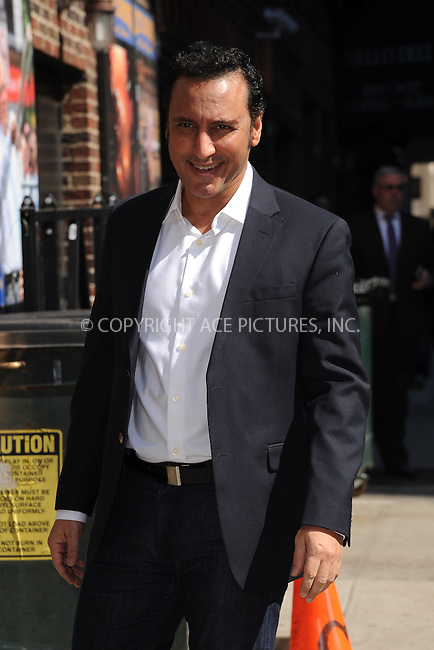 WWW.ACEPIXS.COM <br /> April 2, 2015 New York City<br /> <br /> Aasif Mandvi arrives to tape an appearance on the Late Show with David Letterman on April 2, 2015 in New York City.<br /> <br /> Please byline: Kristin Callahan/ACE Pictures  <br /> <br /> ACEPIXS.COM<br /> Ace Pictures, Inc<br /> tel: (212) 243 8787 or (646) 769 0430<br /> e-mail: info@acepixs.com<br /> web: http://www.acepixs.com