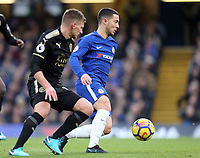 Eden Hazard of Chelsea and Marc Albrighton of Leicesterr city during Chelsea vs Leicester City, Premier League Football at Stamford Bridge on 13th January 2018