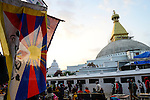 NEPAL Kathmandu, Boudhanath Stupa is the largest stupa in Nepal and the holiest Tibetan Buddhist temple outside Tibet. It is the center of Tibetan culture in Nepal, left tibetan flag /  Bodnath Stupa ist die groesste Stupa in Nepal und Zentrum der tibetischen Kultur in Nepal, links tibetische Flagge