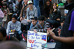 "Protester holds sign ""Don't worry Fox News Channel I don't take you seriously either"" at the Occupy Wall Street Protest in New York City October 6, 2011."