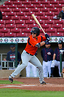 Bowling Green Hot Rods second baseman Ford Proctor (9) at bat during a Midwest League game against the Cedar Rapids Kernels on May 2, 2019 at Perfect Game Field in Cedar Rapids, Iowa. Bowling Green defeated Cedar Rapids 2-0. (Brad Krause/Four Seam Images)