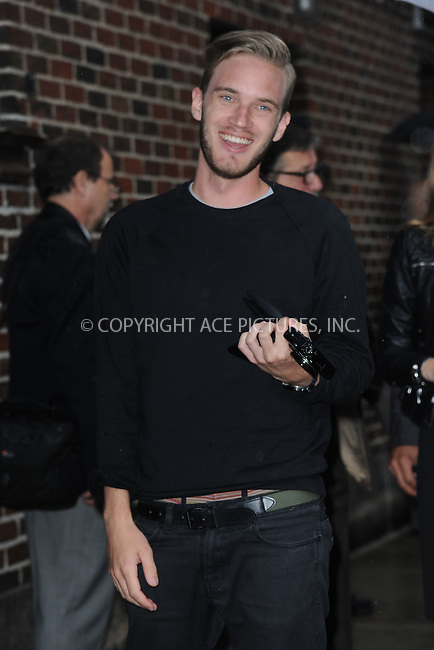 WWW.ACEPIXS.COM<br /> October 1, 2015 New York City<br /> <br /> PewDiePie arriving to tape an appearance on 'The Late Show With Stephen Colbert' on October 1, 2015 in New York City.<br /> <br /> Credit: Kristin Callahan/ACE <br /> <br /> Tel: (646) 769 0430<br /> e-mail: info@acepixs.com<br /> web: http://www.acepixs.com