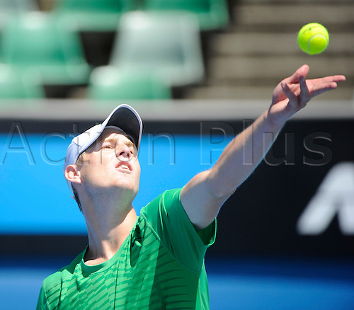 26.01.2012 Melbourne, Australia. Saville in action on Day 10 of the Junior's match. Luke Saville (AUS) V Kyle Edmund (GBR). Saville defeats Edmund 7-5, 7-5 on Margaret Court Arena at the Australian Open.