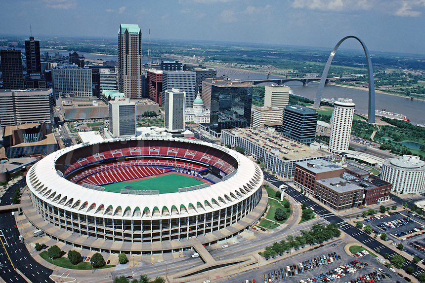 Aerial downtown stadium and arch St Louis Missouri