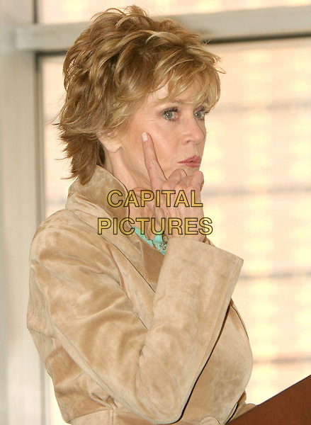 "JANE FONDA.Signs copies of her book ""My Life So Far"" at Barnes & Noble, Lincoln Triangle, New York City, USA, .April 5th 2005.half length beige cream brown suit jacket green stone bead necklace book signing hand finger pointing.Ref: IW.www.capitalpictures.com.sales@capitalpictures.com.©Ian Wilson/Capital Pictures."