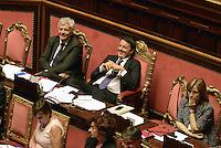 Roma, 24 Giugno 2014<br /> Il Presidente del consiglio Matteo Renzi nell'Aula del Senato per le comunicazione sul semestre europeo.<br /> I banchi del Governo<br /> Rome, June 24, 2014 <br /> The italian Premier , Matteo Renzi in the Senate for communication on the European Semester