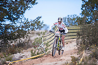 Chelva, SPAIN - MARCH 6: Irina Kalenteva during Spanish Open BTT XCO on March 6, 2016 in Chelva, Spain