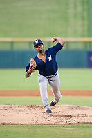 AZL Brewers starting pitcher Wilfred Salaman (16) delivers a pitch during a game against the AZL Cubs on August 6, 2017 at Sloan Park in Mesa, Arizona. AZL Cubs defeated the AZL Brewers 8-7. (Zachary Lucy/Four Seam Images)
