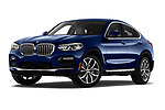 Stock pictures of low aggressive front three quarter view of a 2019 BMW X4 xDrive30i 5 Door SUV