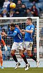 16.03.2019 Rangers v Kilmarnock: Connor Goldson and Nikola Katic clear the same ball