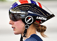 CALI – COLOMBIA – 15-02-2017: Ciclista de Gran Bretaña, durante entreno en el Velodromo Alcides Nieto Patiño, sede de la Copa Mundo UCI de Pista de Cali 2017. / Cyclist from Great Britain, during a training sesión at the Alcides Nieto Patiño Velodrome, home of the Cali Track World Cup 2017 UCI. Photo: VizzorImage / Luis Ramirez / Staff.
