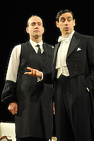 LONDON, ENGLAND - NOVEMBER 05: Matthew Macfadyen and Stephen Mangan attend a photocall as Jeeves and Wooster in 'Perfect Nonsense' at the Duke Of York's Theatre on November 5th, 2013 in London, England. <br /> CAP/CJ<br /> &copy;Chris Joseph/Capital Pictures