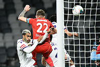 30th July 2020; Bankwest Stadium, Parramatta, New South Wales, Australia; A League Football, Adelaide United versus Perth Glory; Michael Jakobsen of Adelaide United climbs above Osama Malik of Perth Glory at the far post to head his goal to make it 2-0 in the 27th minute