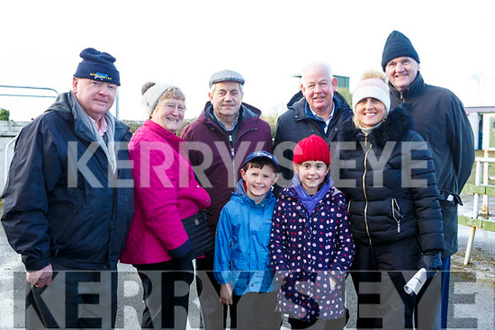 Attending the Kingdom Cup coursing meeting at Ballybeggan Park, Tralee on Wednesday last, l-r, Andrew Sheehy, Rose McElligott, Martin Galvin, Joe McCarthy, Dolores McElligott and Pat McMahon.<br /> Front, Padraig &amp; Cliodhla McElligott all from Lixnaw.