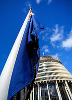 The flag flies at halfmast. Semi-automatic weapons ban and firearms advertising regulation petitions at Parliament in Wellington, New Zealand on Thursday, 21 March 2019. Photo: Dave Lintott / lintottphoto.co.nzSemi-automatic weapons ban and firearms advertising regulation petitions at Parliament in Wellington on March 19th, 2019.
