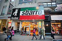 "A Sbarro restaurant in Herald Square in New York is seen on Sunday, November 11, 2012. The Italian food chain which has recently emerged from bankruptcy protection, is reinventing itself with a new and improved higher-end pizza recipe. They will be remodeling the ovens in stores attempting to create a pizza ""theater"" environment and is attempting to move from ""fast food"" into the ""fast casual"" category. (© Richard B. Levine)"