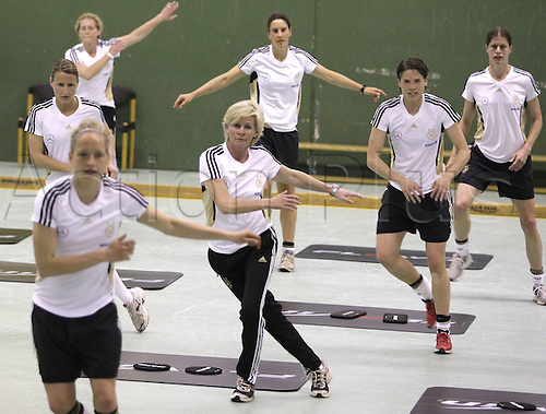 20 04 2011. Cologne, Germany. Ladies International Football.   Germany s Head Coach Silvia Envy trained with team during The The Coordinated athletics training session  of The German Women National team