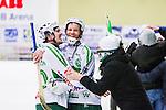V&auml;ster&aring;s 2014-03-08 Bandy SM-semifinal 4 V&auml;ster&aring;s SK - Hammarby IF :  <br /> V&auml;ster&aring;s Ted Bergstr&ouml;m och V&auml;ster&aring;s Johan Esplund jublar tillsammans med supportrar efter matchen <br /> (Foto: Kenta J&ouml;nsson) Nyckelord:  VSK Bajen HIF jubel gl&auml;dje lycka glad happy glad gl&auml;dje lycka leende ler le supporter fans publik supporters