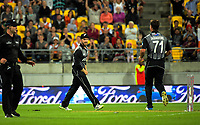 NZ's Kane Williamson celebrates running out James Vince during the International Twenty20 cricket match between the NZ Black Caps and England at Westpac Stadium in Wellington, New Zealand on Tuesday, 13 February 2018. Photo: Dave Lintott / lintottphoto.co.nz